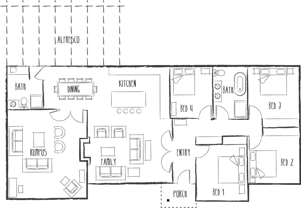 Brooklands Farm floorplan - Luxury home for rent in Ruffy, Goulburn Valley